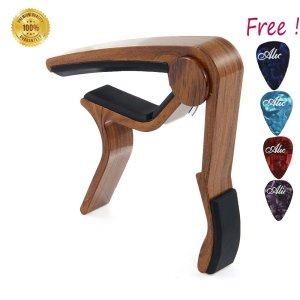 Sound harbor MA-12 Guitar Capo Musicians Recommended for Acoustic,Electric or Classical Guitar - Perfect for Banjo and Ukulele - Lightweight Aluminum Materials( Rose Wood Color 1 Pak)