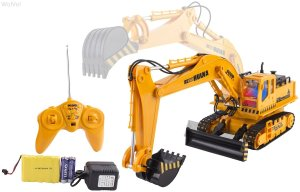 WolVol 11 Channel Full Functional Excavator, Electric Rc Remote Control Construction Tractor Toy for Boys
