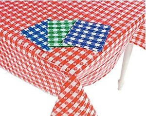 (4) Plastic Checkered Tablecloths - 4 Pc -Gingham Picnic Table Covers
