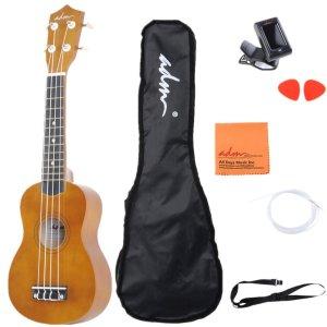 ADM 21 Economic Soprano Ukulele Start Pack with Gig bag, Tuner, Brown