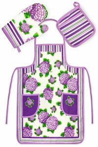 Chef's 3 pc Kitchen Set Collection Purple Floral - Apron, Oven Mit and Potholder