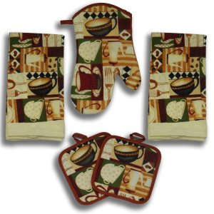Coffee Decoration 5 Piece Kitchen Towel Set - 2 Towels, 1 Oven Mitt, 2 pot holders