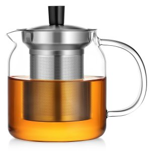 Ecooe Glass Teapot Loose Leaf Tea Maker With Stainless Steel Infuser & Lid, Pyrex Glass Teapots Stovetop Safe Tea Kettle 700ML