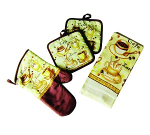 Kitchen Linens Collection Top Quality Quilted Cotton Pot Holder and Oven Mitt Set With Bonus Kitchen Towel, Assorted Kitchen Themes and Colors, 4 Piece Set (Coffee - Brown Beige)