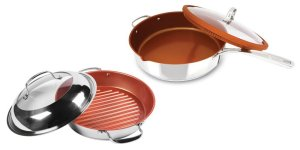 Nuwave 12 Inch 'Everyday Pan' & BBQ Grill Pan 11 Inch with Lids Stainless Steel Induction Ready