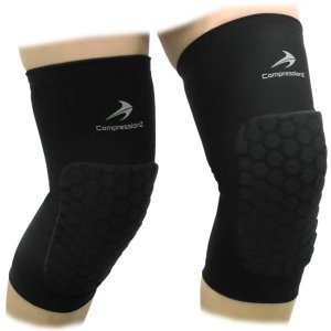 Padded Knee Sleeves (1 Pair) Protective Compression Wear - Men & Women Basketball Brace Support - Best to Immobilize,