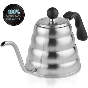 Planetico Pour Over Coffee & Tea Kettle - Ergonomic Designed Drip Pot wGooseneck & Narrow Spout, Brushed Stainless Steel - Solid - Ideal wStovetop, Gas, IR - For Home, Office & Camping - 1.2 L40 Oz