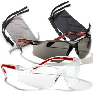 Safety Glasses Eye Protection 2 Pair (Clear & Smoke)+2 Cases+2 Neck Cords, Rubber Temples, Scratch Resistant Lenses.