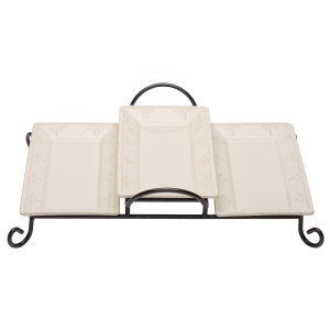 Signature Housewares Stoneware Serving Trays in Tiered Caddy, Ivory, Set of 3