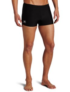 Speedo Men's Endurance+ Polyester Solid Square Leg Swimsuit