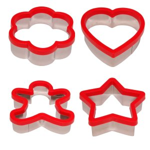 Stately Kitchen's Soft Grip Large 3 inch Cookie Cutter Set of 4 - Ginger Bread Man Cookie Cutter, Heart Cookie Cutter,