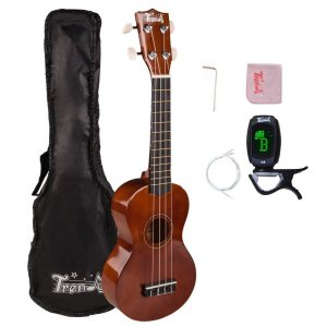 Trendy Traditional and Painted Economy Hawaiian Soprano Ukulele Starter Pack, 21 Inch Standard Model