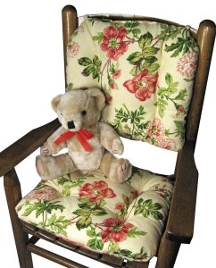 Barnett Child Rocking Chair Cushions -Farrell Multi, Latex Foam Fill, Tufted, Reversible, with Ties - Made in USA - Durable - Machine Washable (Child Size)