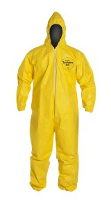 DuPont Tychem QC QC127S Disposable Protective Fabric Coverall with Hood, Elastic Cuff, Yellow, Medium (Pack of 12)
