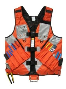 High Visibility Tool Vest with Built in Hydration Pouch - Electricians, Surveyors, Contruction (Orange)