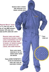 Kleenguard A60 Bloodborne Pathogen & Chemical Protective Coverall Suit w Hood & Boots - M, L, XL, 2XL (Extra Large)