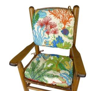 Splish Splash Child Porch Rocker Cushions - Seat Cushion and Back Cushion for Children's Rocking Chair - Latex Foam Fill - Tropical Fish Reversible to Cabana Stripe
