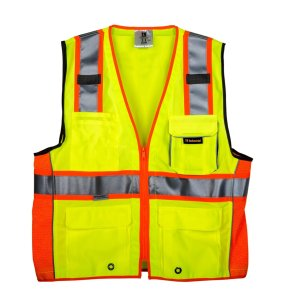 TR Industrial TR55-3M-XXL Class 2 3M Safety Vest with Pockets and Zipper, XX-Large