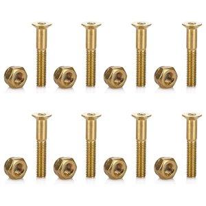 Tera 8Pcs of 29mm1.1in Skateboard Mounting Hexagon Hardware Screws Replacement Kit Gold
