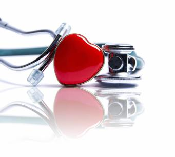 bright heart with stethoscope