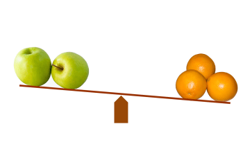 a picture of a balancer with green apples on onse side and oranges on the other.