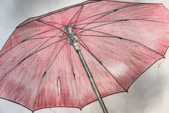 a drawing of a light red umbrella
