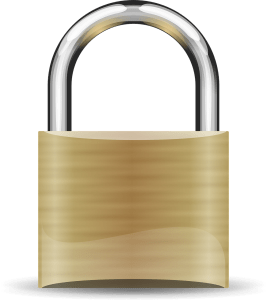 A brass colored padlock with silver ring.