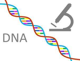 dna written with a colorful gene sequence and microscope