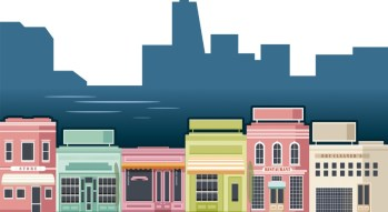 illustration of multiple store fronts next to each other.