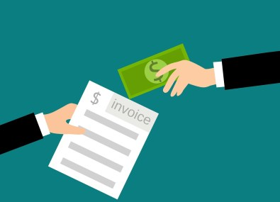 illustration of two hands, one with money in it and the other with an invoice
