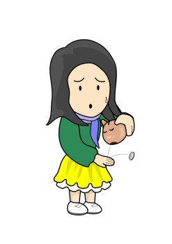 illustration of a woman turning a piggy bank over with one coin falling out