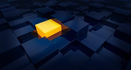 a yellow square lit up in a sea of squares