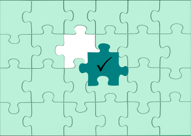 puzzle with a missing piece being added