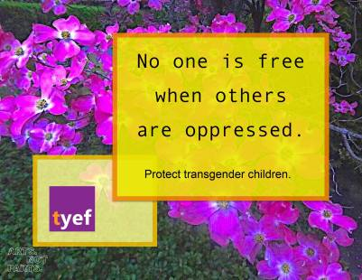 no one id free when others are oppressed written in front of purple flowers