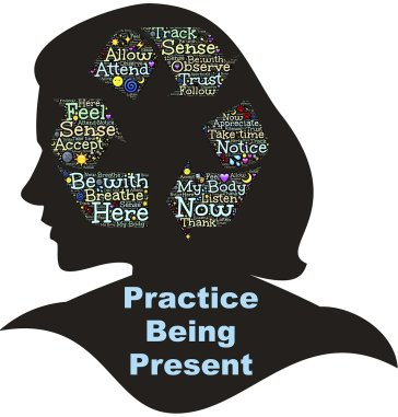 """silhouette of a woman's head with words inside that says """"practice being present"""""""