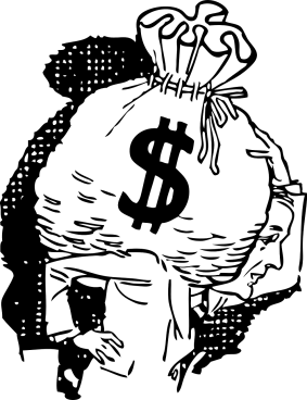illustration of a woman holding a large bag with a money symbol on her shoulders