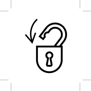 illustration of an open padlock with an arrow pointing down to lock it