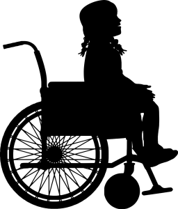 silhouette of a young girl in a wheelchair