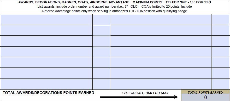 Army Promotion Point Worksheet, PPW, DA Form 3355   EZ ...