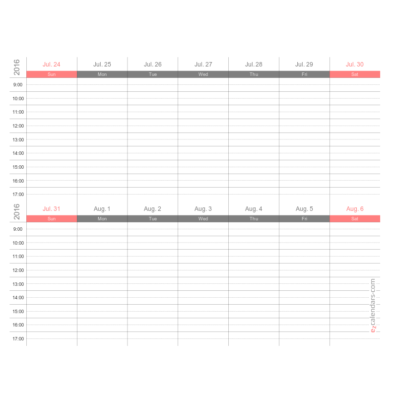 two week schedule printable