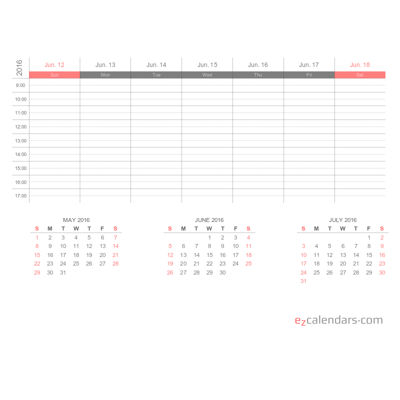 Two weeks appointment schedule template, weekly planner
