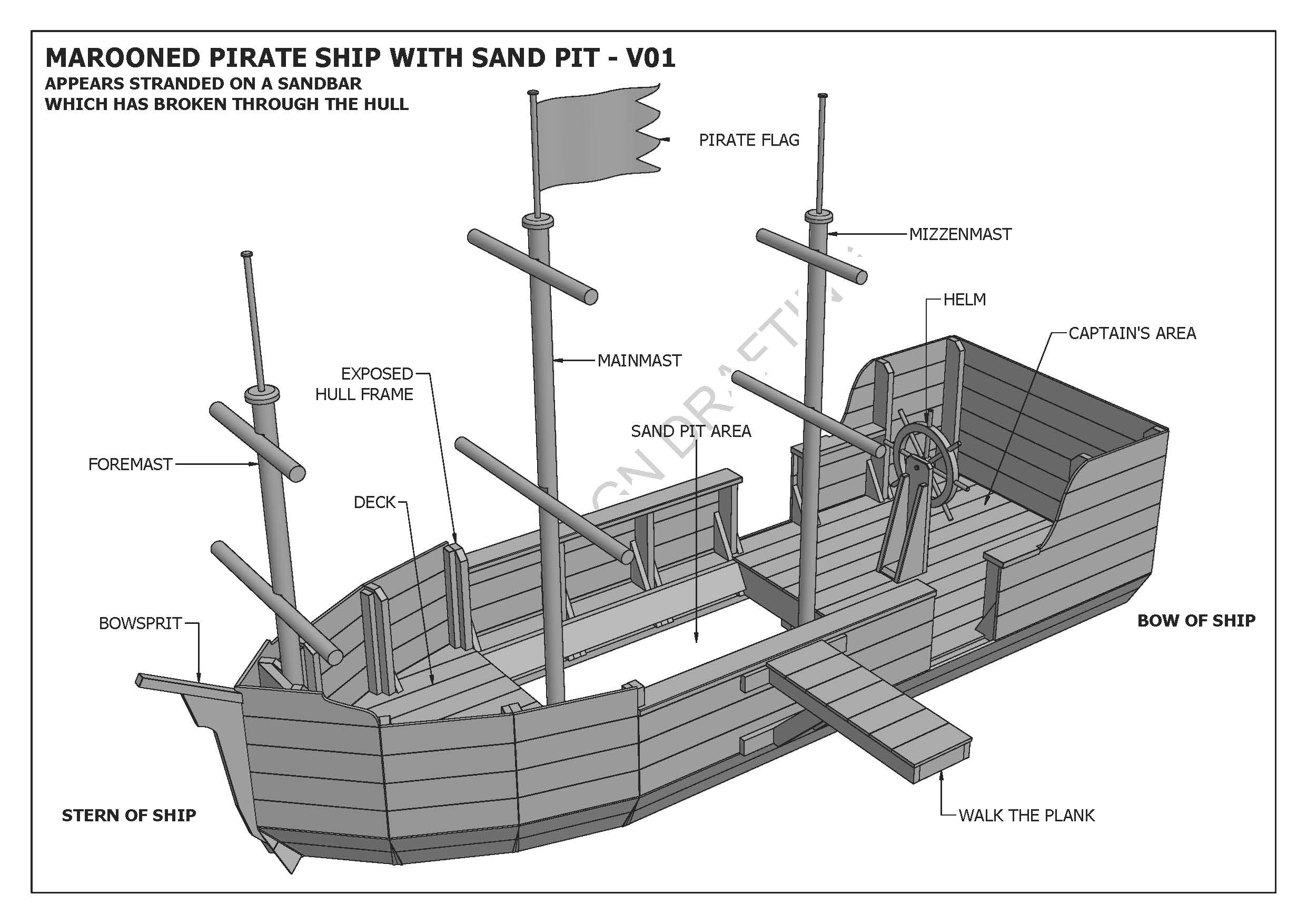Marooned Pirate Boat With Sand Pit