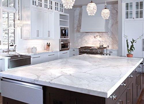Instant Peel and Stick Self Adhesive White Grey Faux Marble Granite Quartz Counter Top Film
