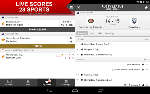 live match date app norge