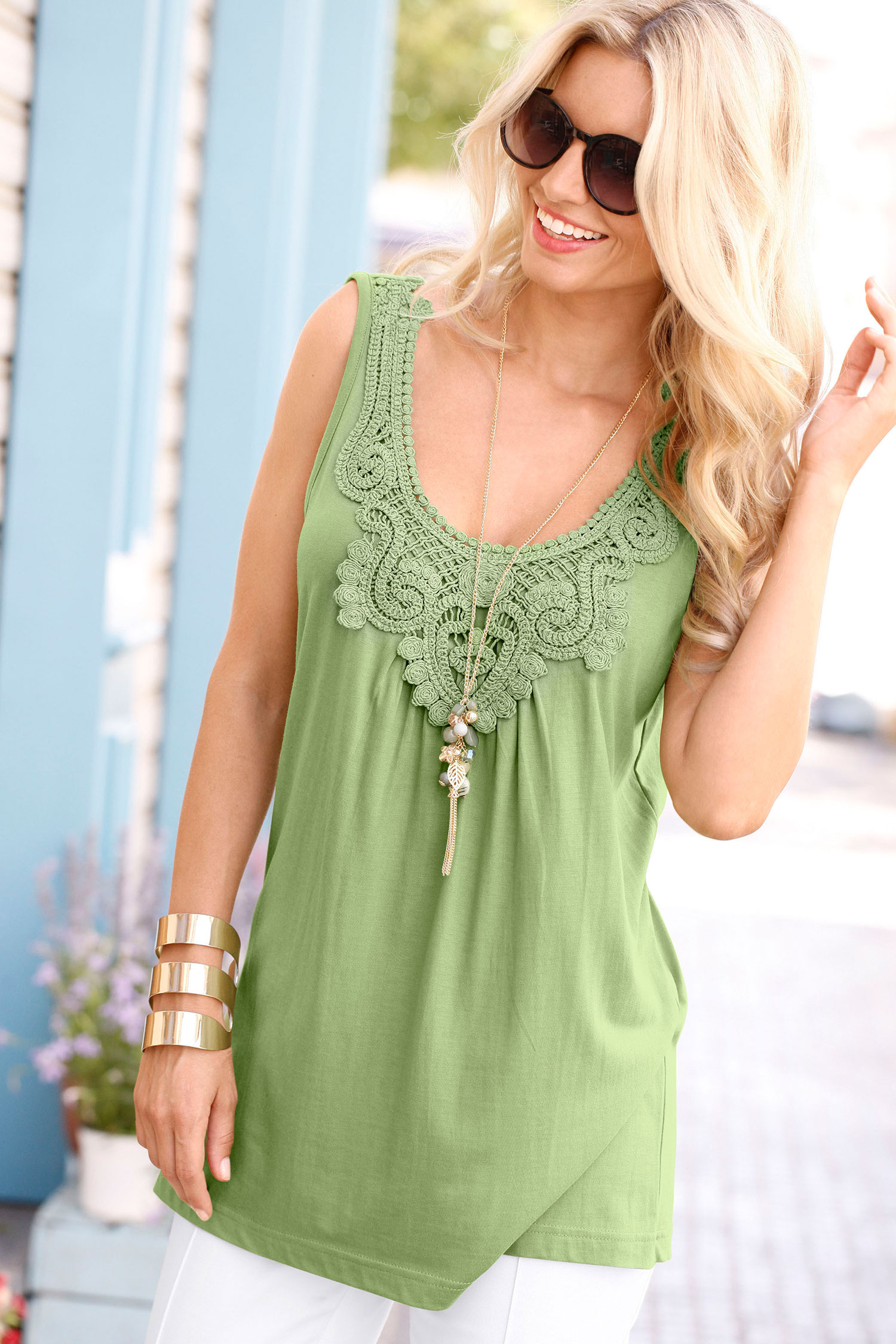 Go Green with green clothes: Capture European Lace Top