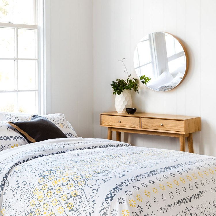 Lewis Mirror, Rodney Console Table and Nola Duvet Cover