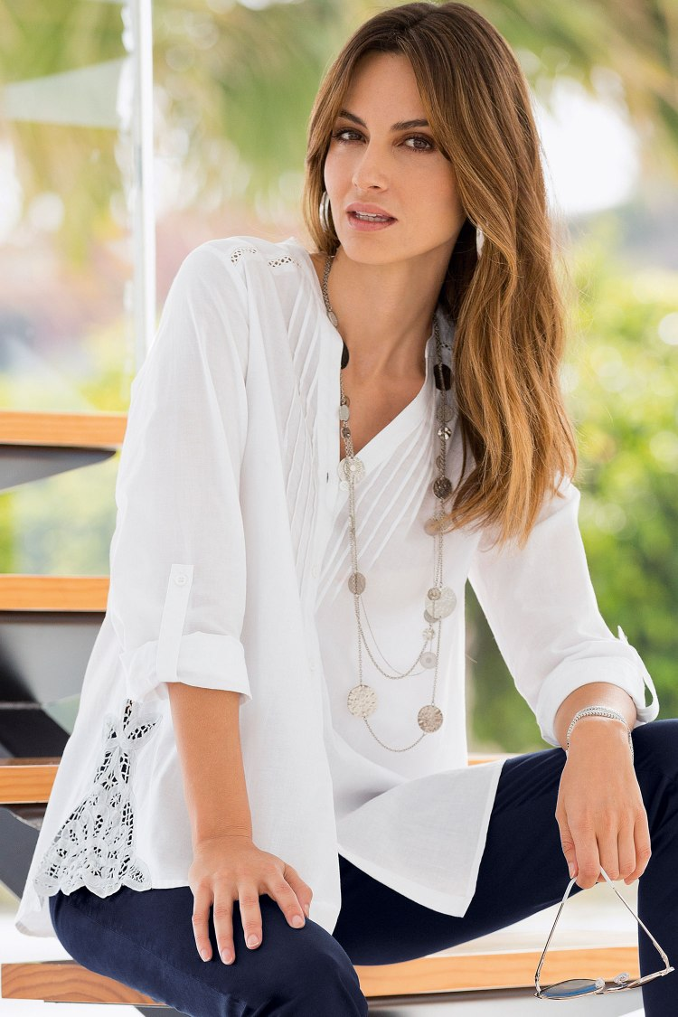Shop Together Pintuck Lace Blouse