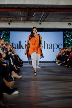 Sarah walking for Taking Shape Fashion
