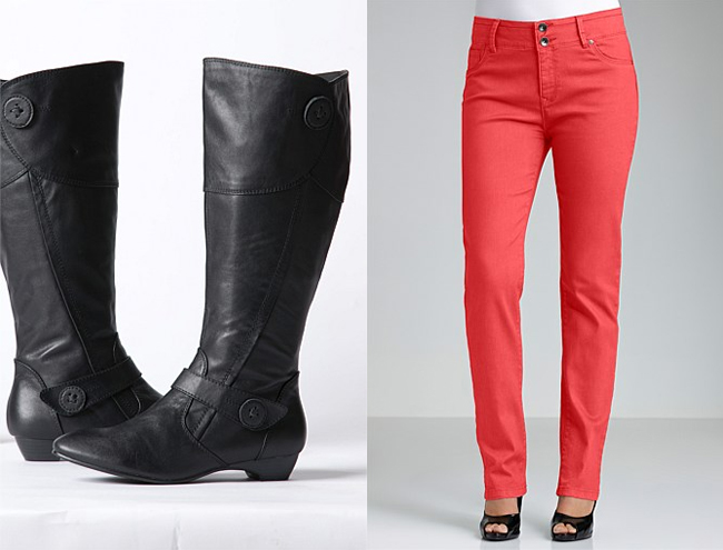 Left: Sara Button Detail Boots; Right: Sara Slim Leg Jeans