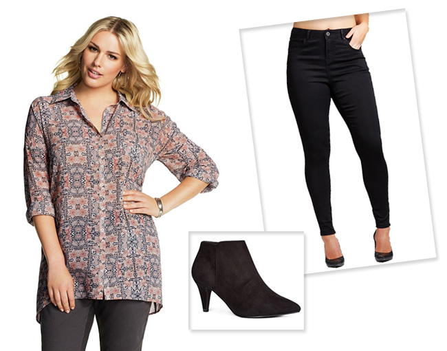 Emerge Woman Longline Print Shirt | Next Black Flexi Point Ankle Boots | Evans Skinny Jeans